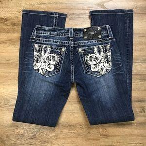 Miss Me Jeans Boot Rhinestone Fleur De Lis…